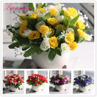 FREE SHIPPING Quality silk flower European 1 Bouquet Artificial Flowers carnation Fake Leaf Wedding Home Party Decoration
