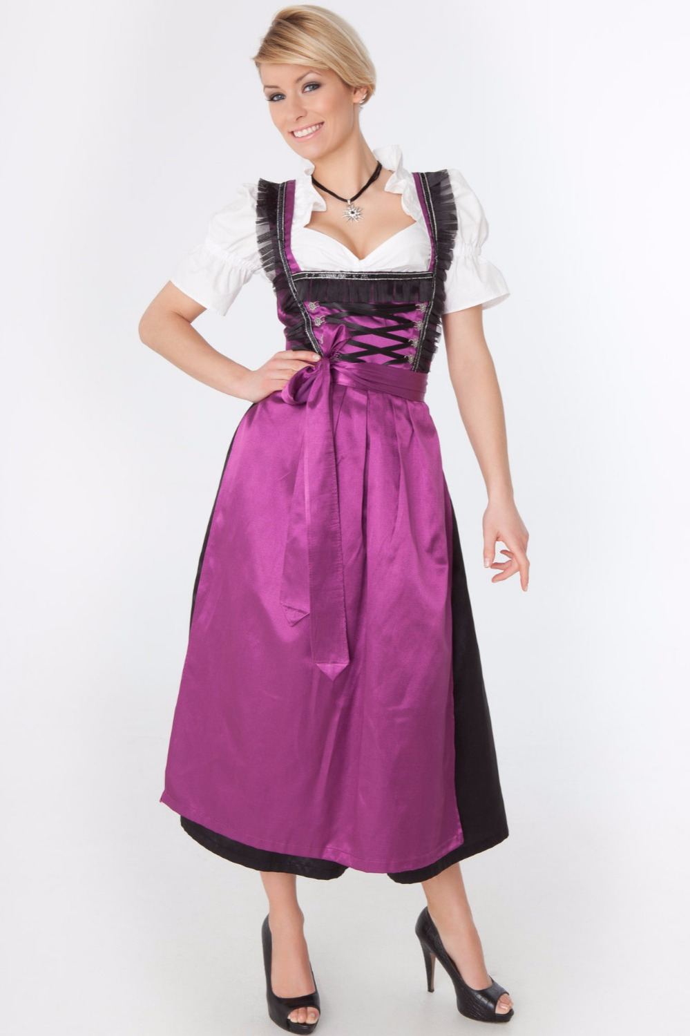 Women's Oktoberfest Beer Girl Dress Ladies Germany Wench Dirndl  Maid Peasant Skirt Dress Apron Blouse Gown Costume
