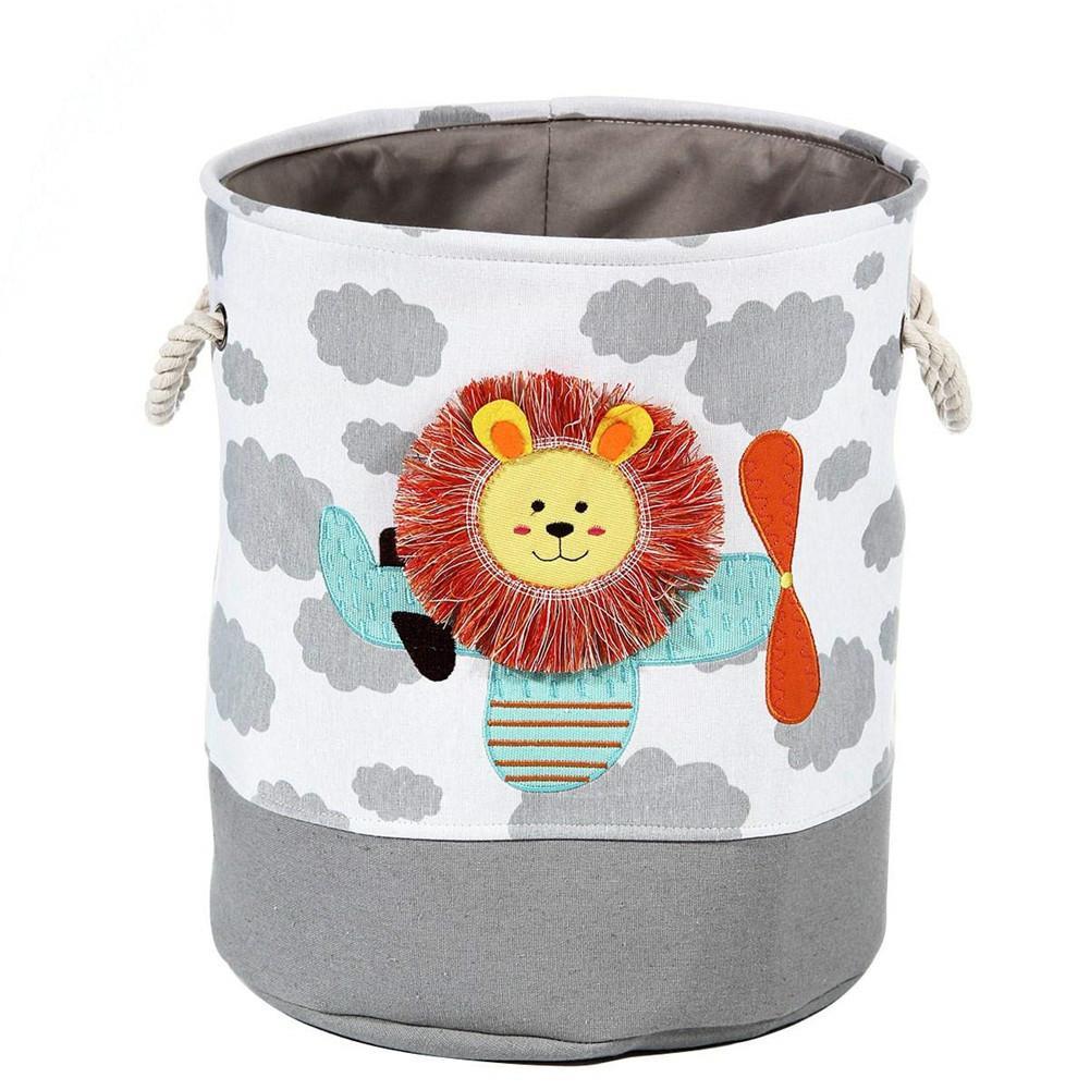 Cesto Dobrável de Lavanderia para Roupas Sujas – Serve como cesto de Brinquedos – Organizador - Leão e Girafa