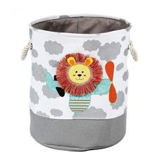 New Lion Giraffe Cartoon Canvas Storage Basket For Toys Child Folding Laundry Dirty Clothes Organizer