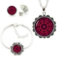 New fashion women zen yoga mandala Dark Red Pendant Blood Necklace earrings bracelet set best friends gifts jewelry sets HT136