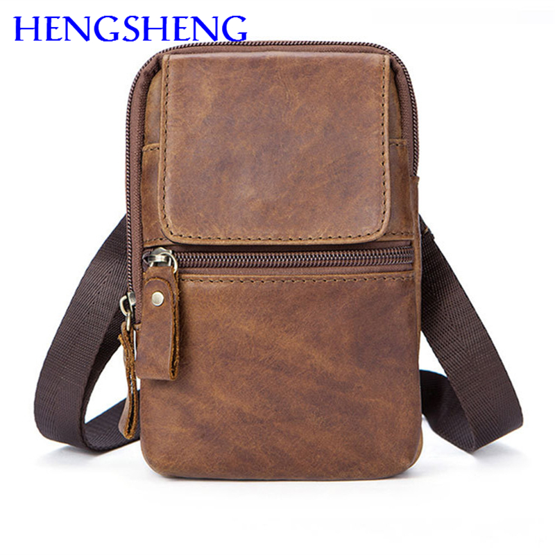 Hengsheng hot selling genuine font b leather b font men chest bag with top quality cow