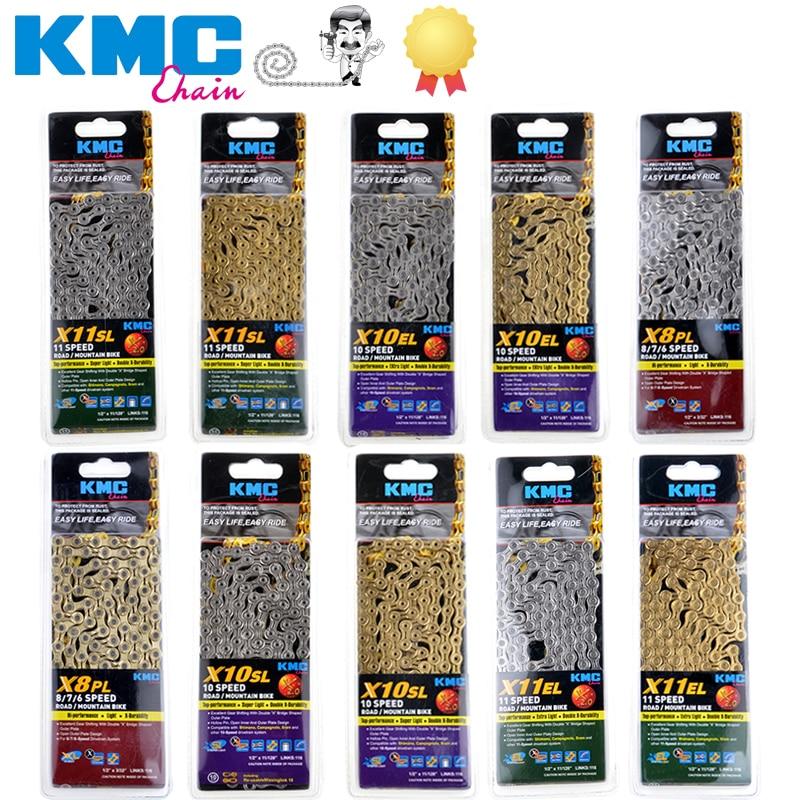 Free shippingkmc x8 x9 x10 x10sl x9sl x11sl bicycle 9 10 11 s gold mountain road bike and sram 7 8 9 10 11 / 116l / chain speed