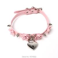 Harajuku Lolita 100% Handmade Rose Flower Spikes Collar Lock Key Locket Choker Leather Necklace