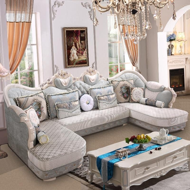 European Style  U Shape High Quality Fabric Sofa Set For  Living Room Furniture