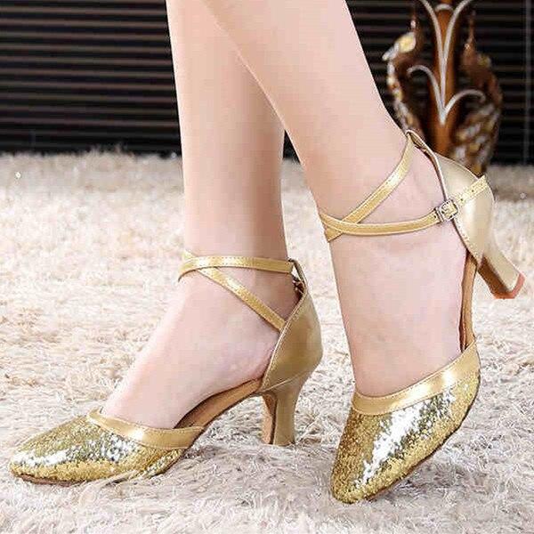 48cb2858703 High Quality Women s Girls Sandals Sequin Glitter High Heel  Latin Ballroom Salsa Dance Shoes Gold Silver Salsa Shoes