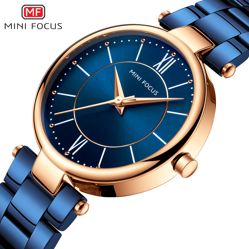 MINIFOCUS Top Brand Women Quartz Watches Blue Stainless Steel Bracelet Luxury Ladies Watch Dress Rose Gold Montre Femme Dropship