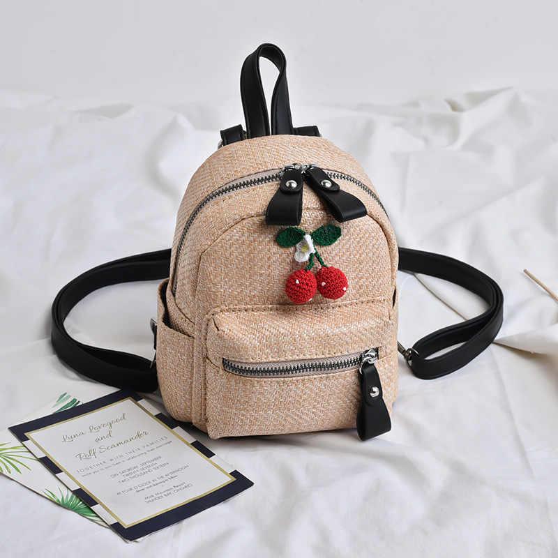 Мини-летние соломенные рюкзаки для женщин, высокое качество, Маленький милый кавайный женский рюкзак, сумка-портфель для девочек-подростков, новинка 2019