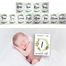 12 шт./компл. месяц карты для малышей на фотографии новорожденных футболка с забавным мультипликационным принтом «фотография карты наклейки