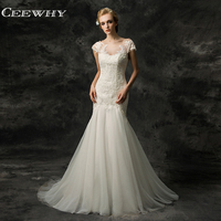 CEEWHY Mermaid Wedding Dresses 2018 Vintage Lace Wedding Dress Appliques Robe De Mariage Open Back Bride