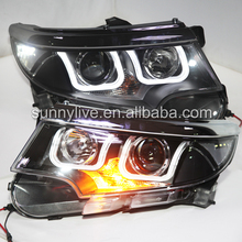 For ford Edge led front light 2011-2013 year U Style Black housing LF WITH 6000k HID