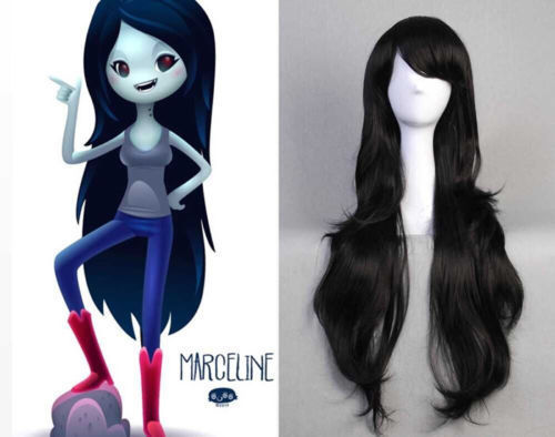 free shipping Adventure time Marceline the Vampire Queen long Black wavy curly Cosplay Wigfree shipping Adventure time Marceline the Vampire Queen long Black wavy curly Cosplay Wig