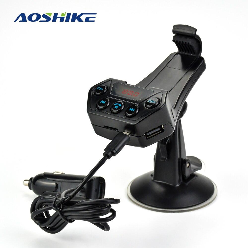 Aoshike estilo do carro bluetooth transmissor fm com suporte de telefone inteligente mp3 player 5 v 2.1a usb carregador de carro chamando kit handsfree