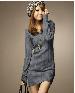cc44fd9b871 2014 Fashion Casual Women s Knitted woolen V Neck Sweater Jumper Long  Sleeve Mini Dress Pullover Tops