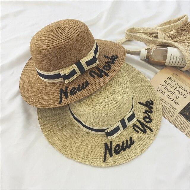 Verano de las señoras NUEVA YORK carta Inglaterra arco de las mujeres  sombrero de paja playa 5681f18e61e