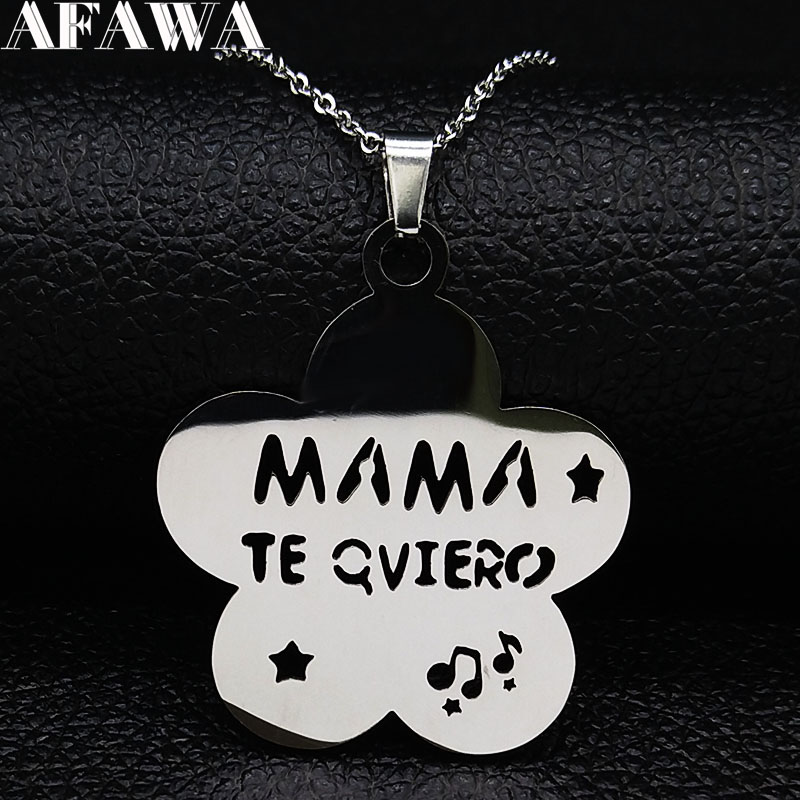 2019 Flower MAMA Stainless Steel Statement Necklace Woemen Silver Color Necklaces Jewelry acero inoxidable joyeria N19148