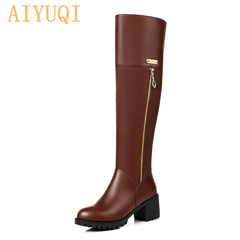 AIYUQI 2019 new genuine leather over knee boots womens big size 41 42 43 women Knight