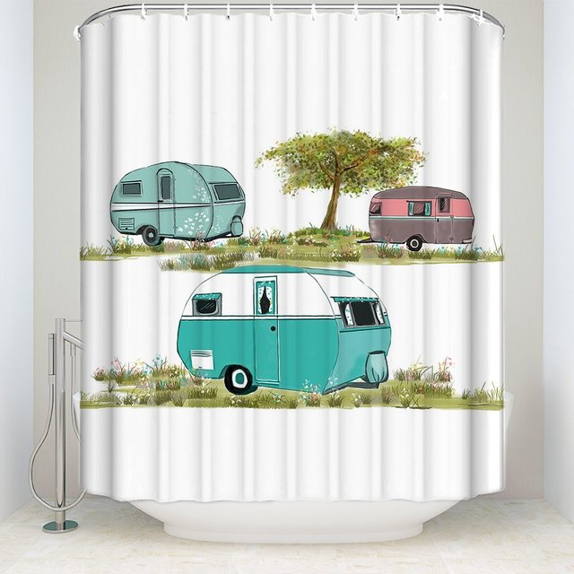 Retro Camping Shower Curtain Vintage Travel Trailer Decor Bathroom With Hooks Polyester Fabric Waterproof