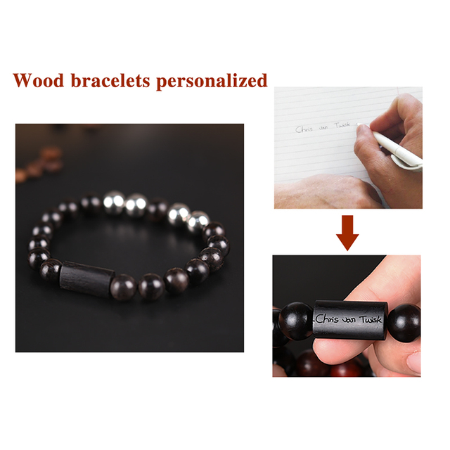 (Not Available in RSA) Personalized Name Bead Bracelet Homme Men Wooden Bangle Custom Jewelry Gift pulsera hombre