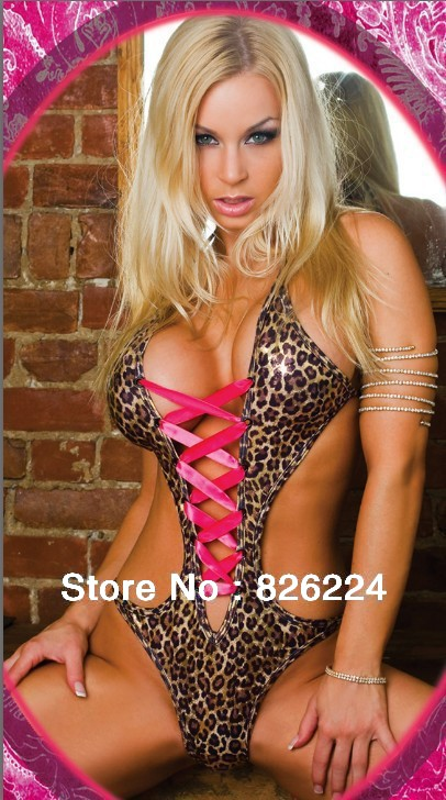 Buy Leather Leopard Plus Sexy Jumpsuits Womens Pajamas Bandage Crop Top Fetish Dressing Gown Erotic Sexy Lingerie Hot Costume Q20