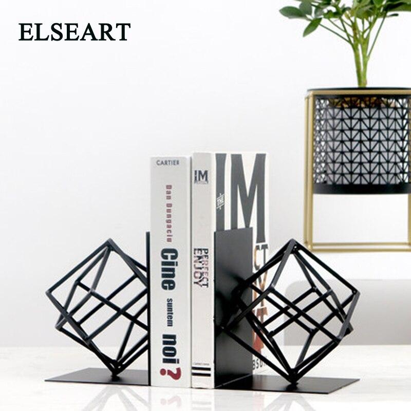 Une paire de serre-livres en métal noir géométrie forme livre Stand bureau décoration bureau organisateur livre étagère titulaire