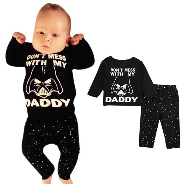 2017 Autumn Newborn Baby 2pcs Outfit Set Star Wars Long Sleeve Cotton Tops T-shirt+Long Pants Kids Clothes Naby Set J2