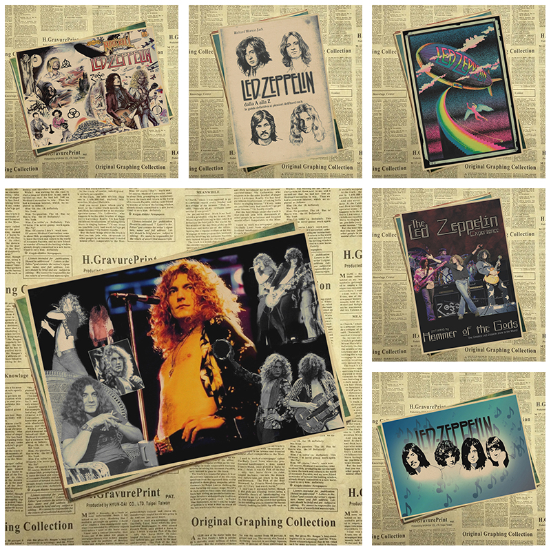 Vintage Poster Led Zeppelin kraft paper retro rock poster classic old band retro poster part 2