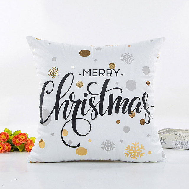Marble Christmas Snowflake Pattern Letter Decorated Black White Pillow Case Gift Pair Pillow Office Decorative Pillow Case