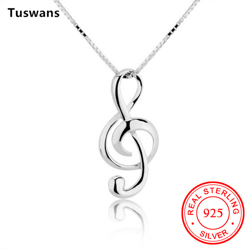 1501efc43a54f6 Musical Note Pendant Necklace 925 Sterling Silver Chain Women Box Chain  Necklace Choker Necklace Jewelry Gifts For Women