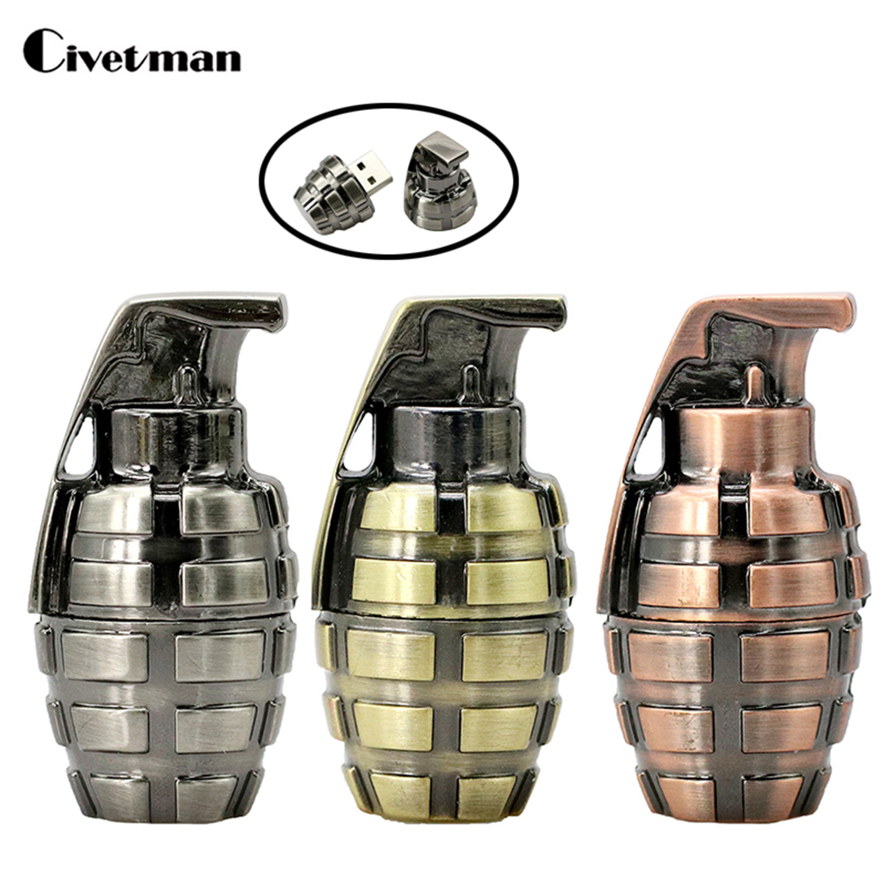 Mini Metal Retro Hand Grenades USB Flash Drive 64GB USB 2.0 Pen Drive 16GB Flash Memory Stick U Disk Pen Drive 32GB Pendriver