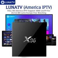 LUNATV X96 2/16G Android TV Box Set Top Box Amlogic S905X Quad Core with 3/6/12 Month Arabic IPTV Europe UK USA Italy