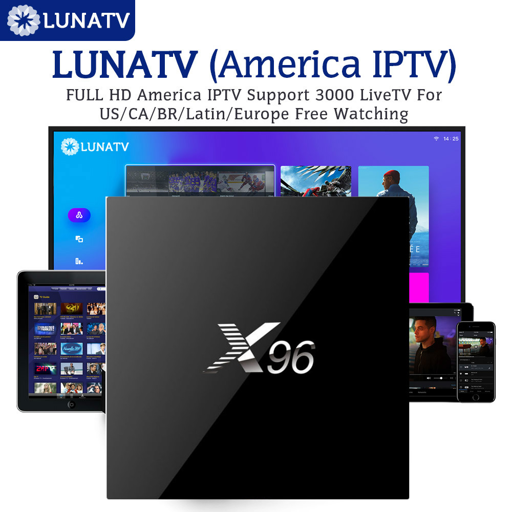 LUNATV X96 2/16g Android TV Box Set Top Box Amlogic S905X Quad Core mit 3/6 /12 monat Arabisch IPTV Europa UK USA Italien