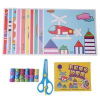 Kids Decorative Masking Tape Sticker Kit Children DIY Scrapbooking Adhesive Tapes Stickers Scissors Tools Set School