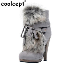 Women Round Toe Platform Ankle Boots Brand New Ladies Fur Bootines Mujer Fashion Lace Up Spike Heels Shoes Footwear Size 34-47
