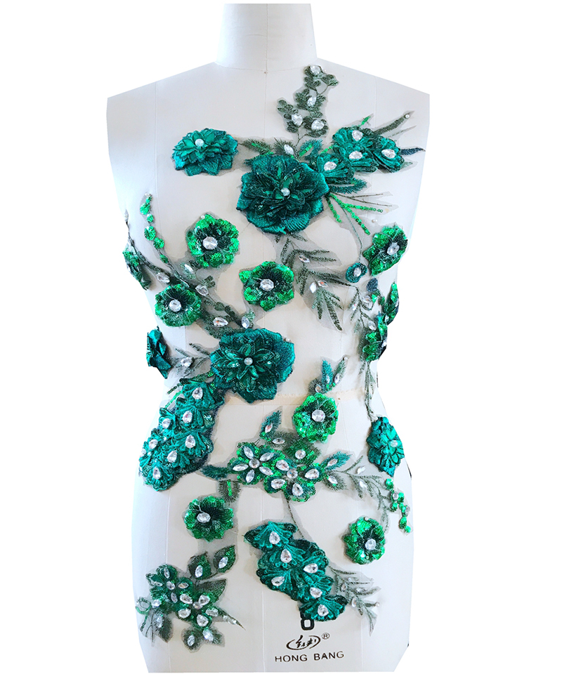 1Piece Blue Green Lace Applique Lace Trim Crystal Sewing Rhinestone 3D Flowers DIY Clothes Accessories Wedding Dress Lace Fabric