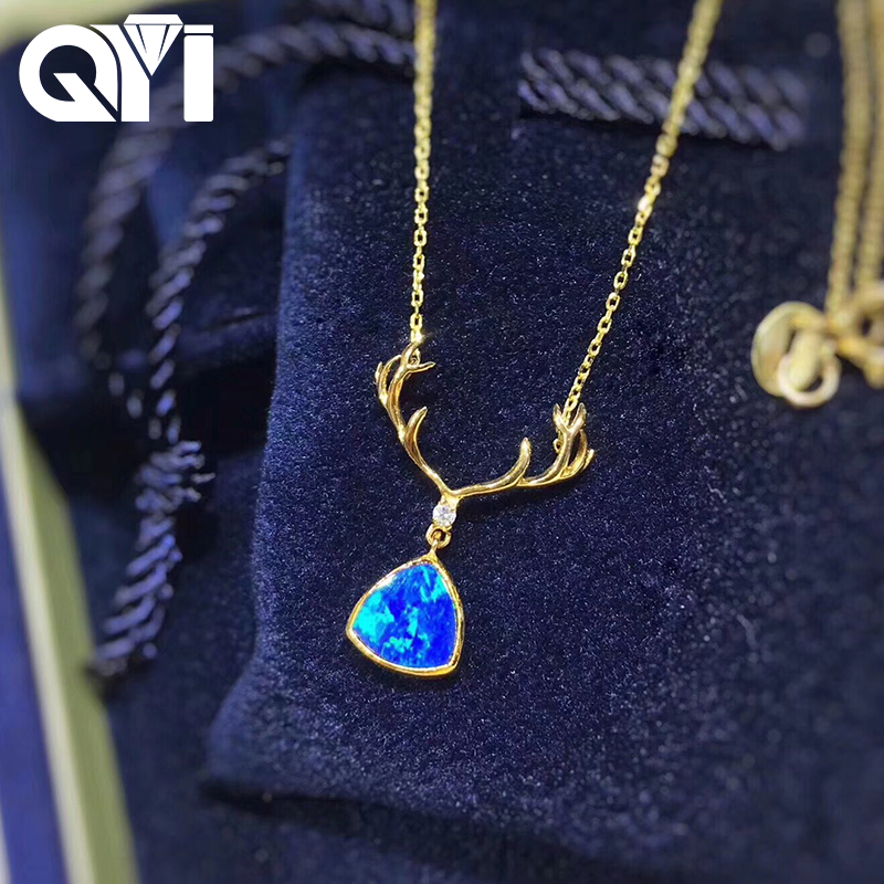 QYI Woman Necklace 18K Yellow Gold Opal Necklace Lovly Deer Natual Blue Opal Pendant for Women Engagement Wedding JewelryQYI Woman Necklace 18K Yellow Gold Opal Necklace Lovly Deer Natual Blue Opal Pendant for Women Engagement Wedding Jewelry