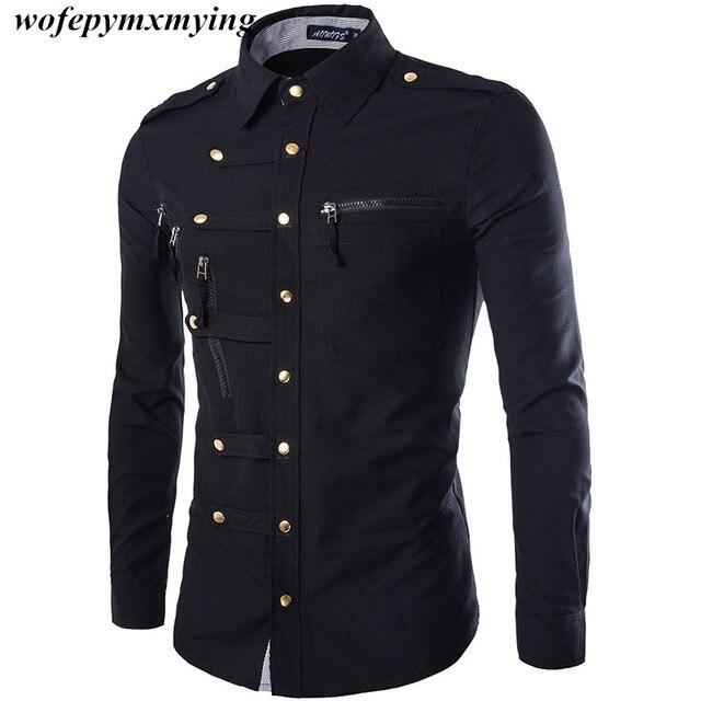 Новый модный бренд Мужская одежда повседневные рубашки с длинным рукавом Новинка мужские рубашки качество выбор Готический офицер рубашка с пряжками