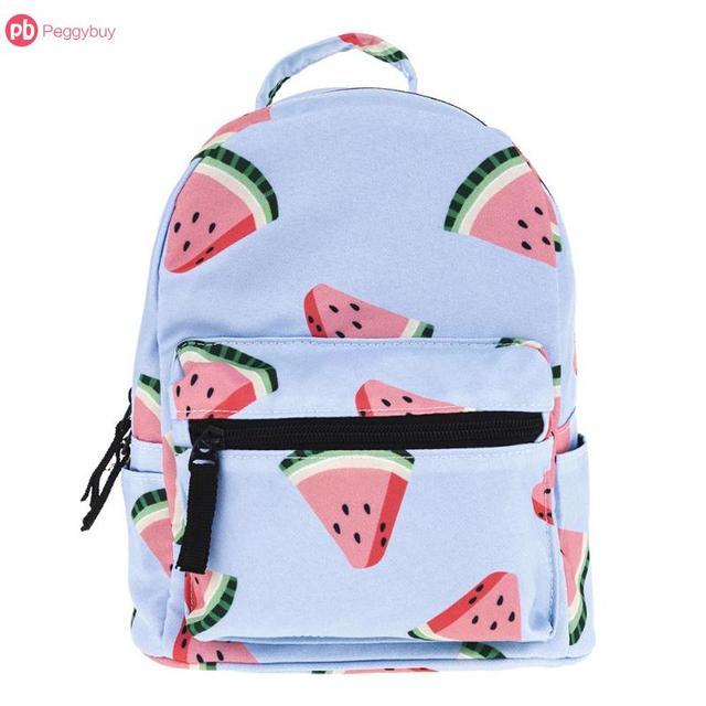 cfe3ae65327b Summer Mini Zipper Backpacks Women Kids 3D Watermelon Printed Kindergarten  Shoulder Schoolbags Girls Casual Street Shopping Bags