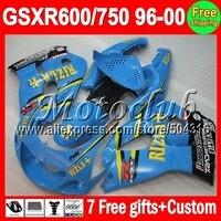 7 подарки + Бак На SUZUKI RIZLA 96 97 98 99 00 GSX R600 GSX C #10923 Голубой GSX R 600 750 GSXR600 96 1996 1997 1998 1999 2000 обтекатель