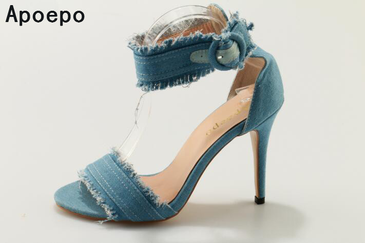 New fashion blue denim sandals for women open toe high heel ankle wrap buckle strap ladies casual party sweet sandals shoes  hot selling denim blue ankle strap buckle high heel sandals cut out thick heel gladiator sandals for women summer dress shoes