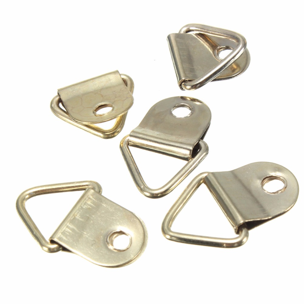 100pcs creative new golden picture hangers brass triangle photo 100pcs creative new golden picture hangers brass triangle photo picture frame wall mount hanger hook ring iron in picture hangers from home improvement on jeuxipadfo Images
