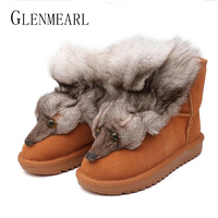Genuine Leather Women Snow Boots Fur Winter Warm Women Ankle Boots Shoes Plus Size Fox Animal