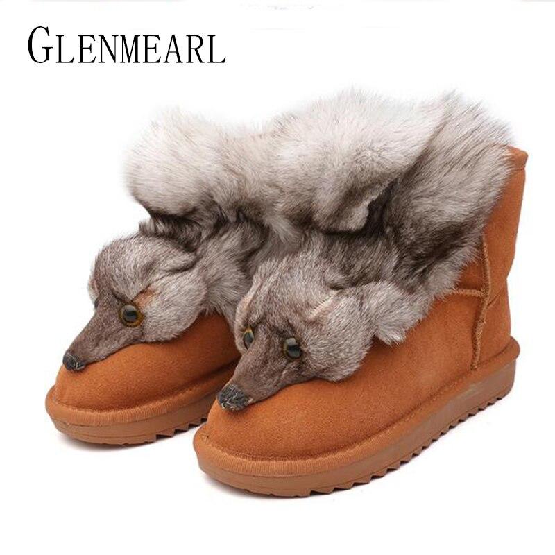 Prawdziwej skóry kobiet buty śnieżne futro zimowe ciepłe kobiety botki buty Plus rozmiar Fox zwierząt mieszkania buty damskie grube platformy w Buty do kostki od Buty na  Grupa 1