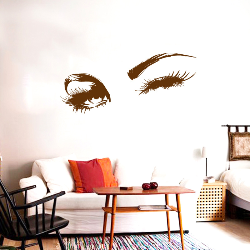 Wall Decal Beautiful Charming Eyes Lashes Wink Decor Wall Art Mural Vinyl Decal Stickers Interior Design Bedroom Sticker