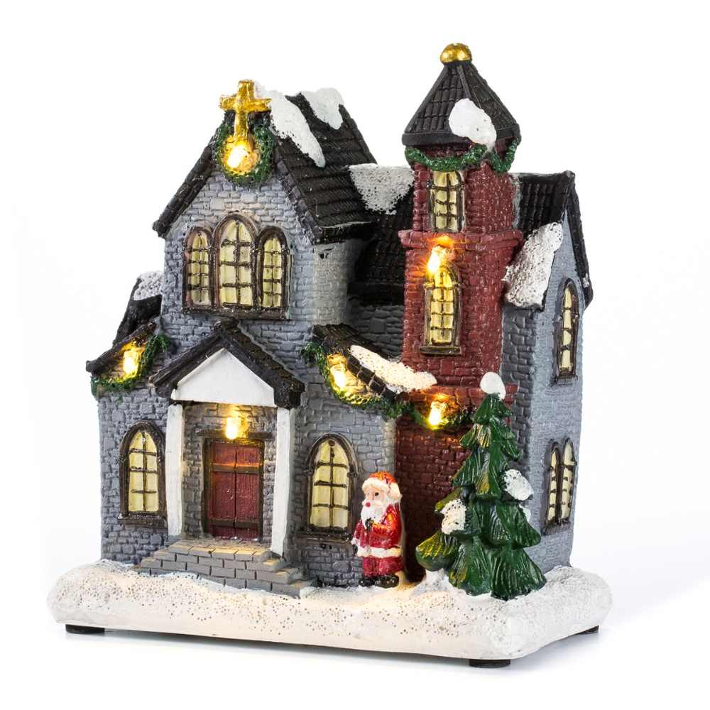 Christmas Houses Village.6 Resin Christmas Scene Village Houses Town With Warm White Led Light Battery Operate Ornamnet Holiday Gifts