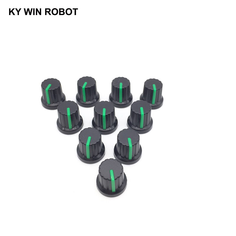 10PCS lot Green Volume Control Rotary Knobs For 6mm Dia Knurled Shaft Potentiometer Durable in Potentiometers from Electronic Components Supplies