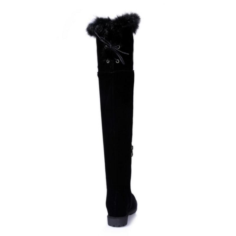 Damen Misakinsa Schwarzes Winter Hohe Stiefel 34 Plus Lange Mode Oberschenkel Flache Warme Frauen 45 Schuhe Fell Größe Plüsch r1qrTRwa