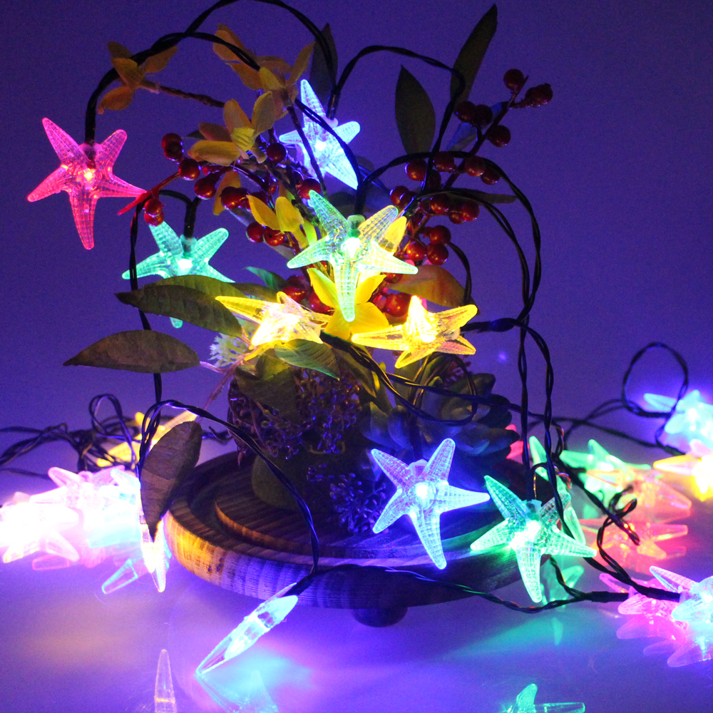 30led 6m party fairy lights battery operated starfish led christmas string lights for outdoor indoor xmas party decoration