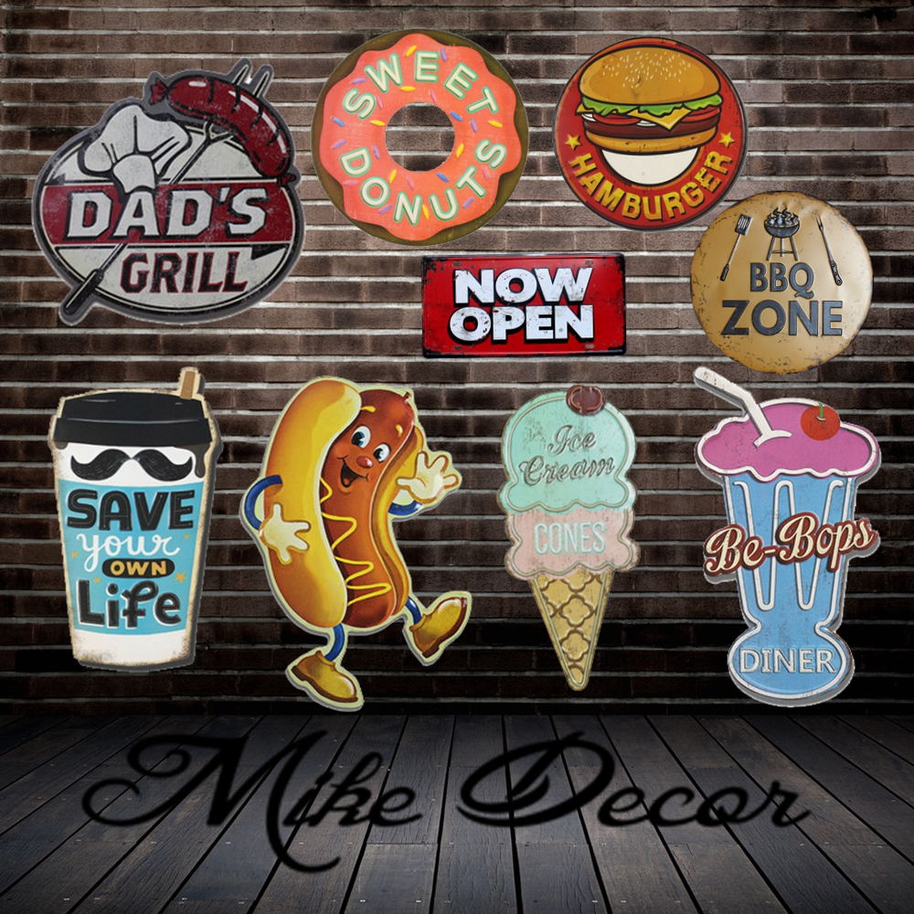 [ Mike Decor ] BBQ HOT DOG CAKE Hamburger ZONE Painting Retro Gift Irregular Metal Sign  ...