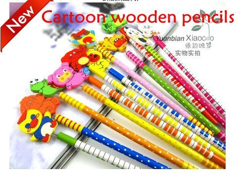 Free shipping! Cartoon wooden pencils,Lovely cartoon wooden colour decoration pencil,animal pencil,more than 30 colors,170pcs